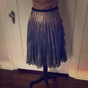 Rachel Roy metallic pleated skirt
